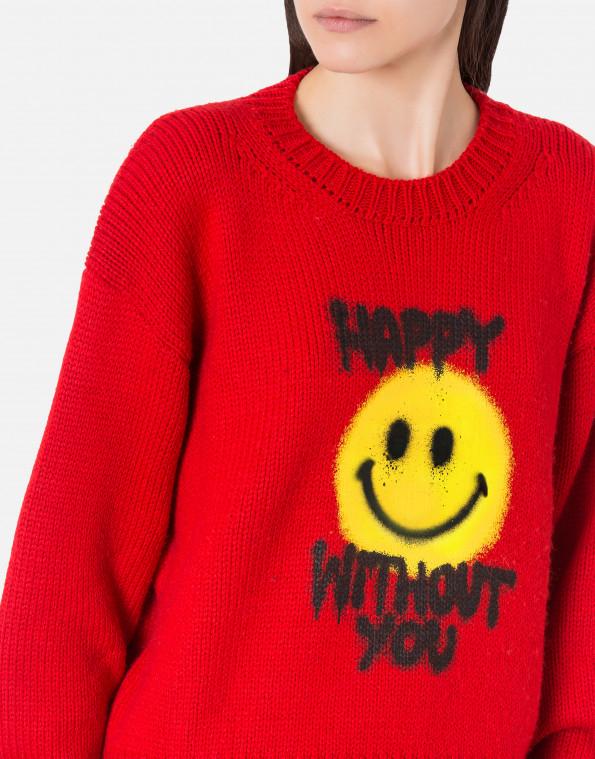 pullover rosso spray me smiley®