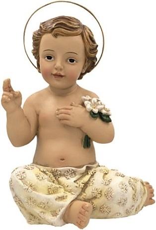 Gesù Bambino seduto dipinto a mano in resina cm. 10