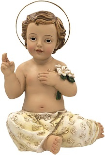 Gesù Bambino seduto dipinto a mano in resina cm. 7, 5