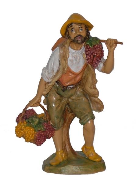 Pastore con cesti di uva cm. 20