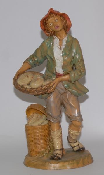 Pastore con cesto di pane cm. 30