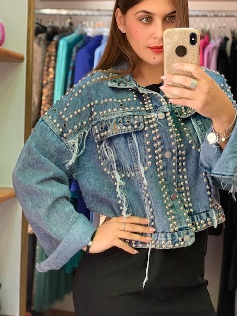 Giacca di Jeans con borchie e strass