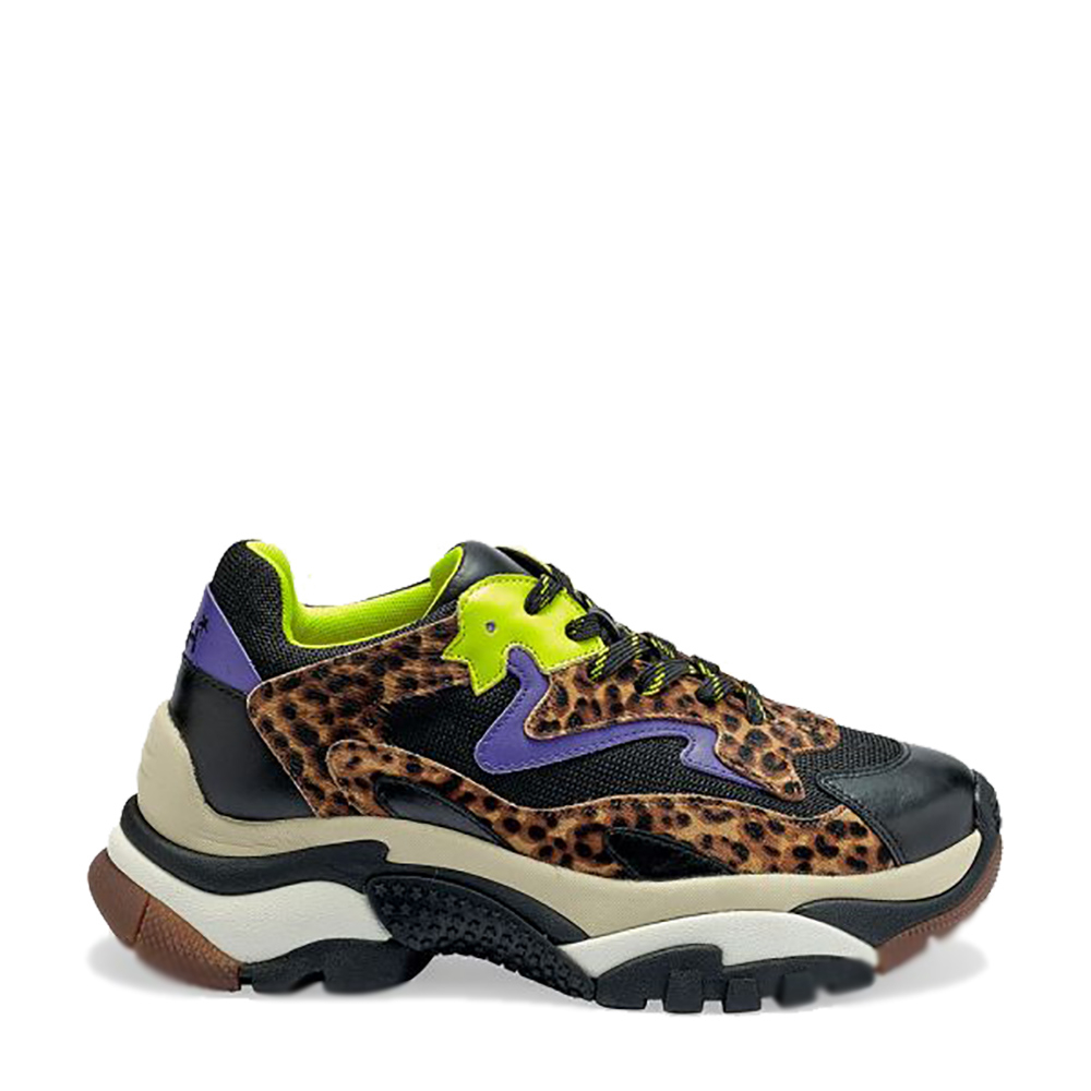 Sneakers -ASH-ADDICT- colore giallo viola e leopardo