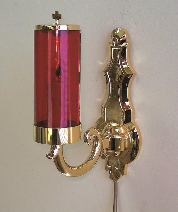 Vetro rosso Ø cm. 8 con luce elettrica e supporto a muro