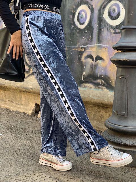 Pantalone in ciniglia con banda laterale Vicky Mood