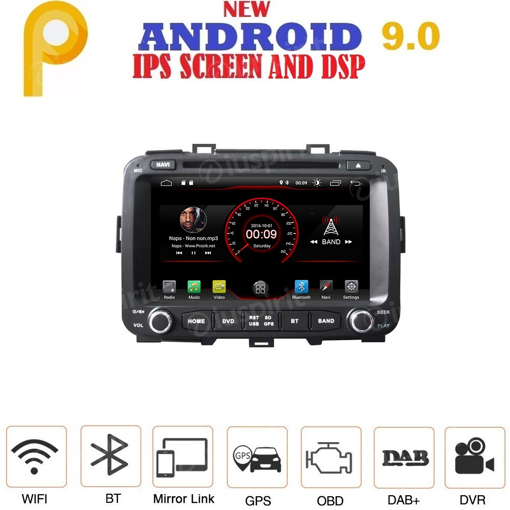 ANDROID 9.0 autoradio 2 DIN navigatore per Kia Carens 2013-2018 GPS DVD USB SD WI-FI Bluetooth Mirrorlink