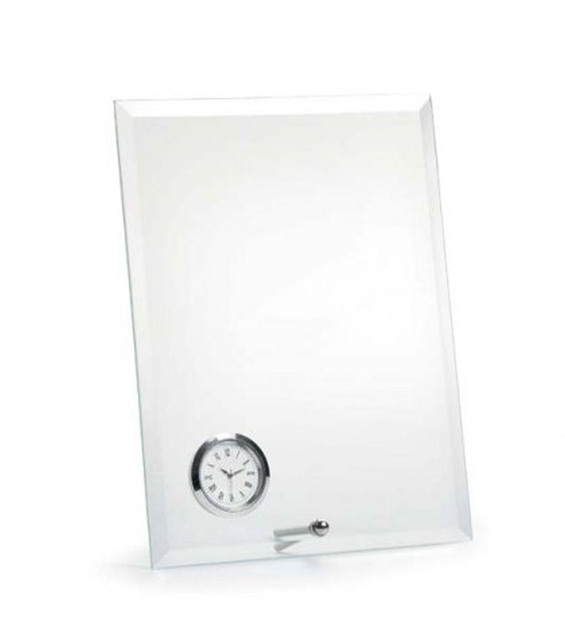 Vetro con orologio e supporto verticale cm.14x1,5x19h