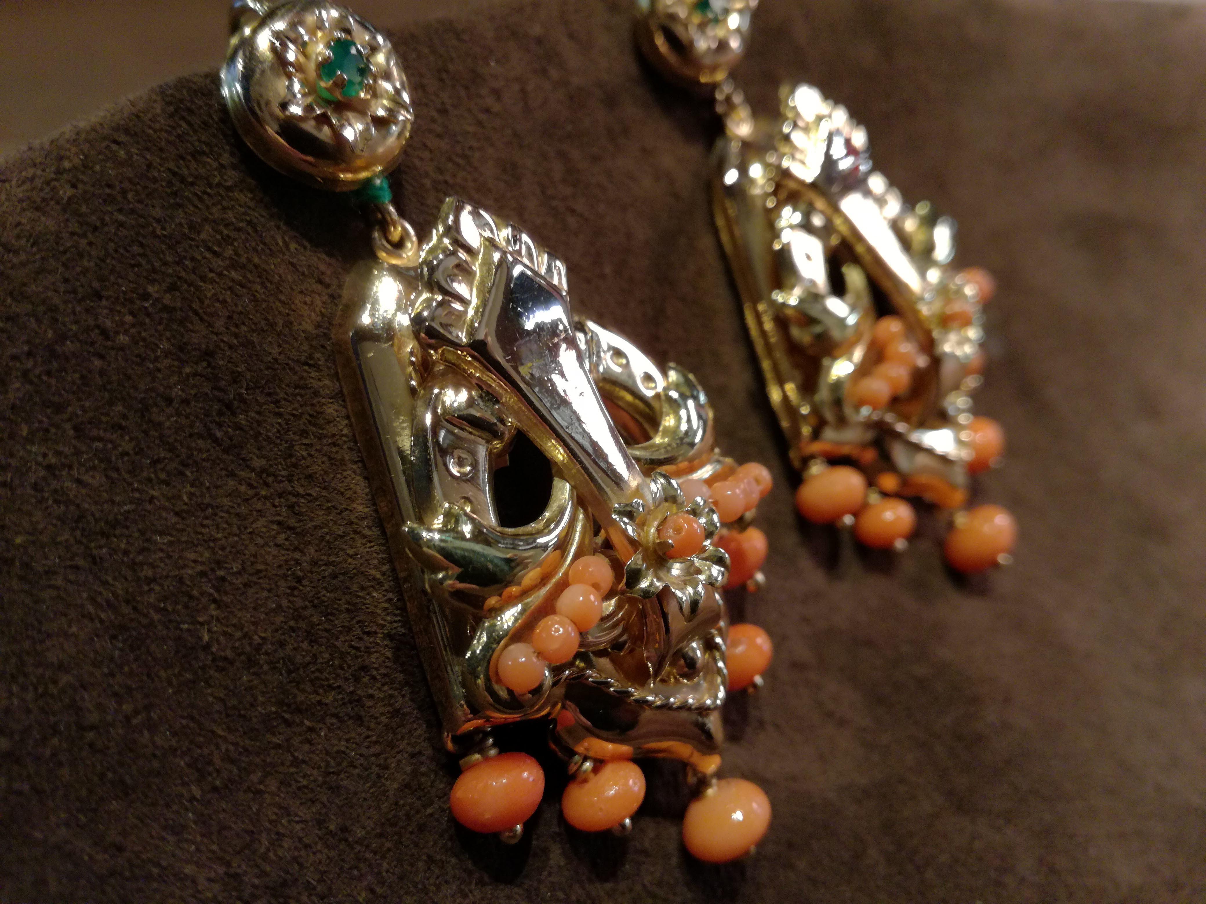 Orecchini pendenti in Oro 18kt stile Napoletano