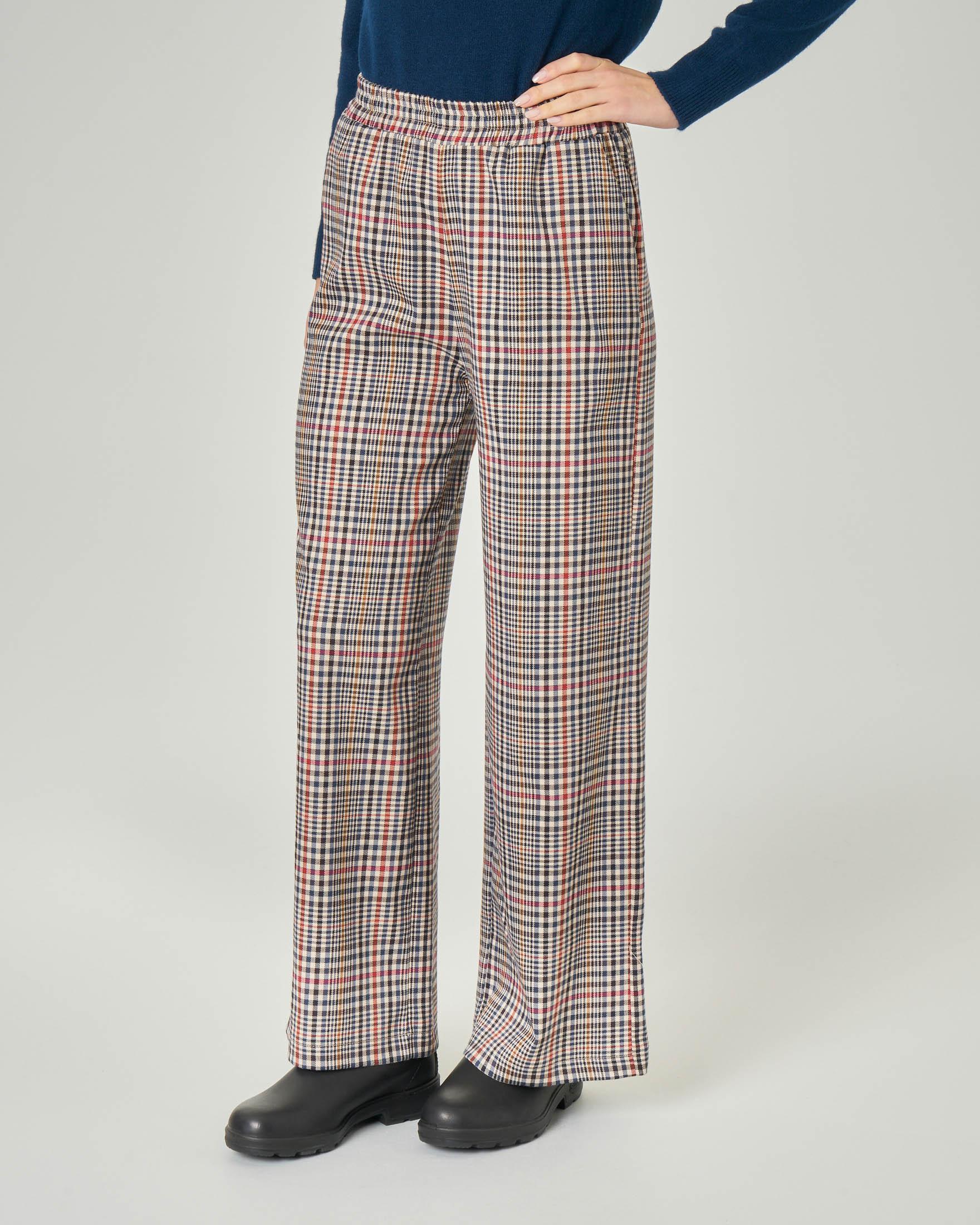 Pantaloni ampi fantasia club check multicolor con elastico in vita