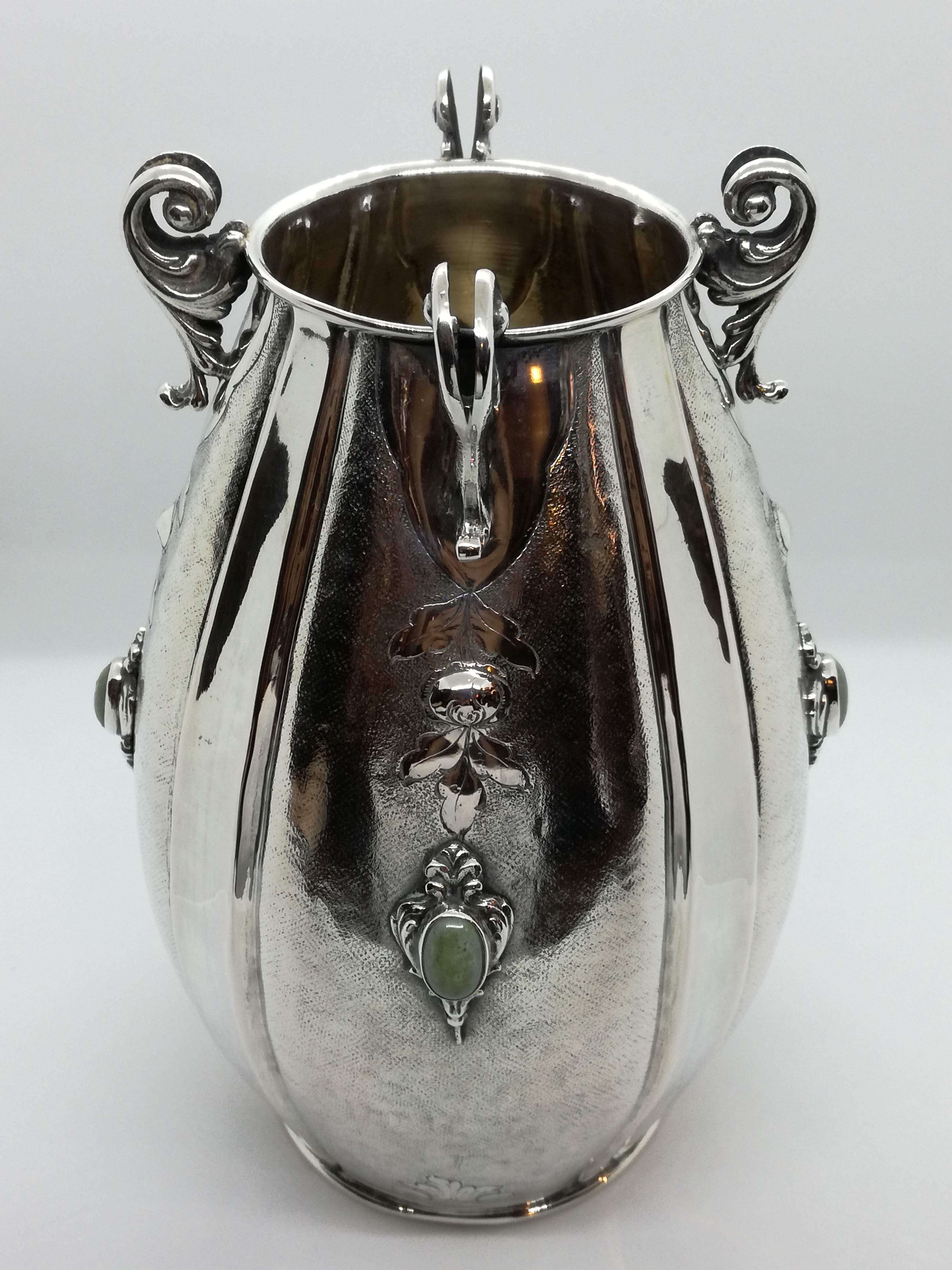 Vaso in Argento 800 Art Dèco, produzione artigianale milanese