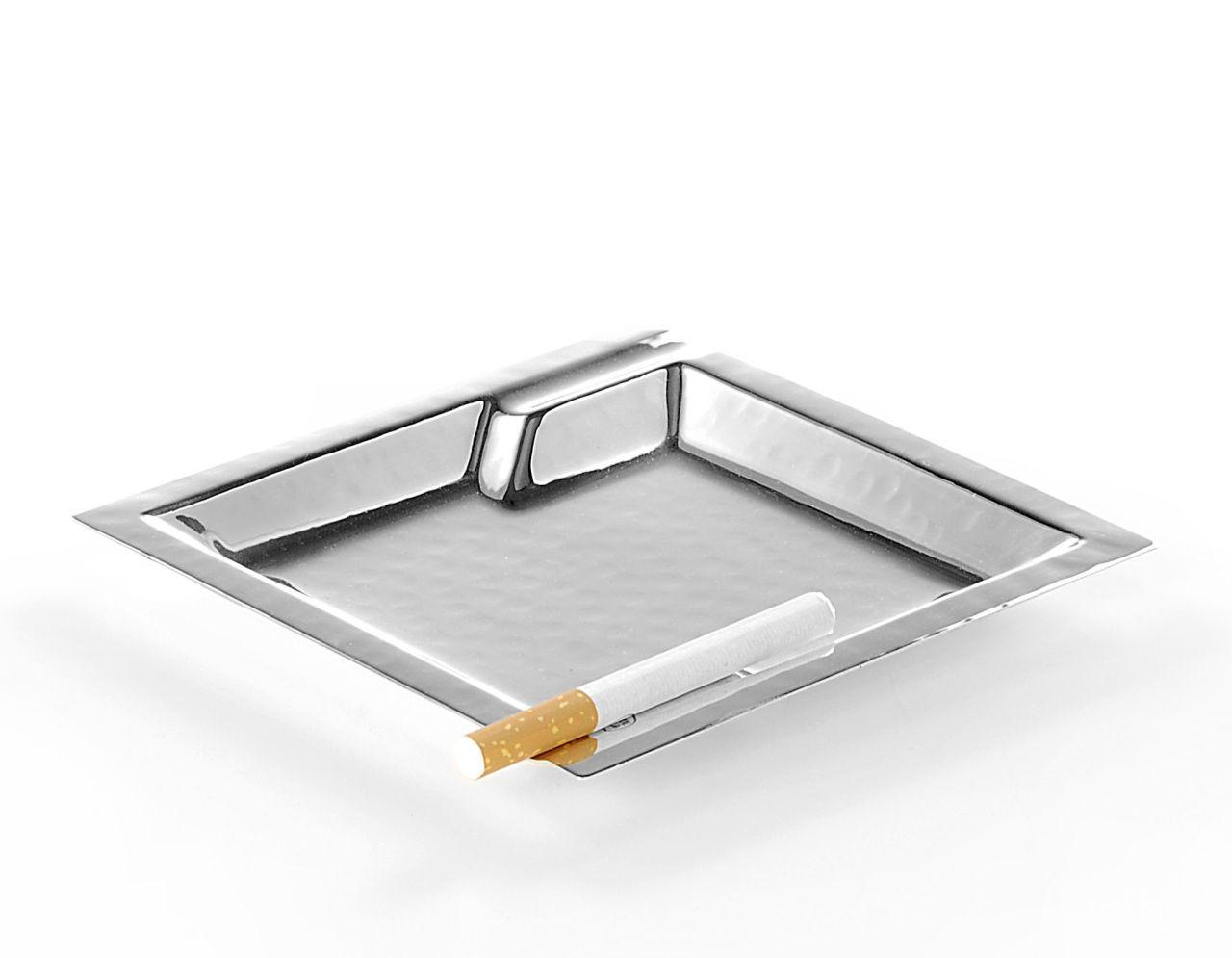 Posacenere quadrato placcato argento cm.14x14x1,5h