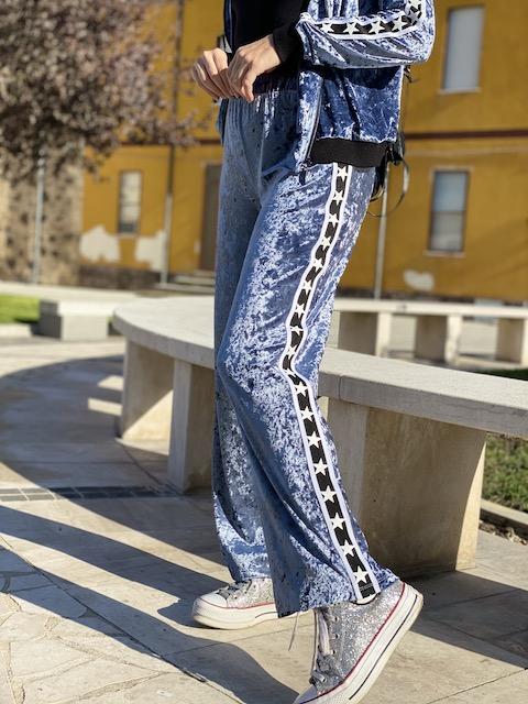 Pantalone in ciniglia con banda laterale Vicky Mood Taglia L