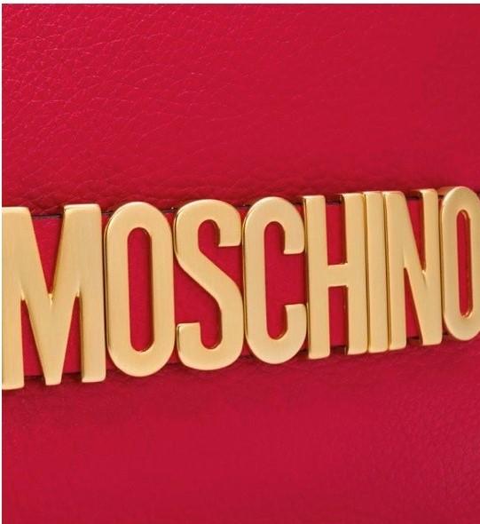 Clutch con placca logo MOSCHINO
