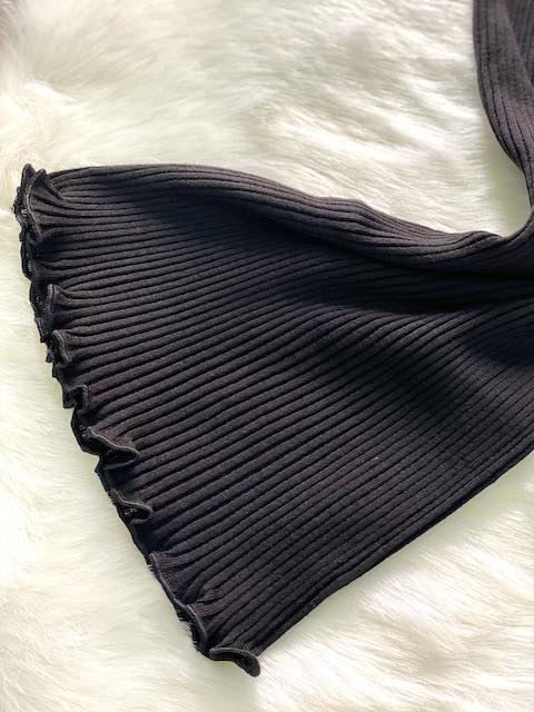 Top costa plissè profili in pizzo lana e microfibra