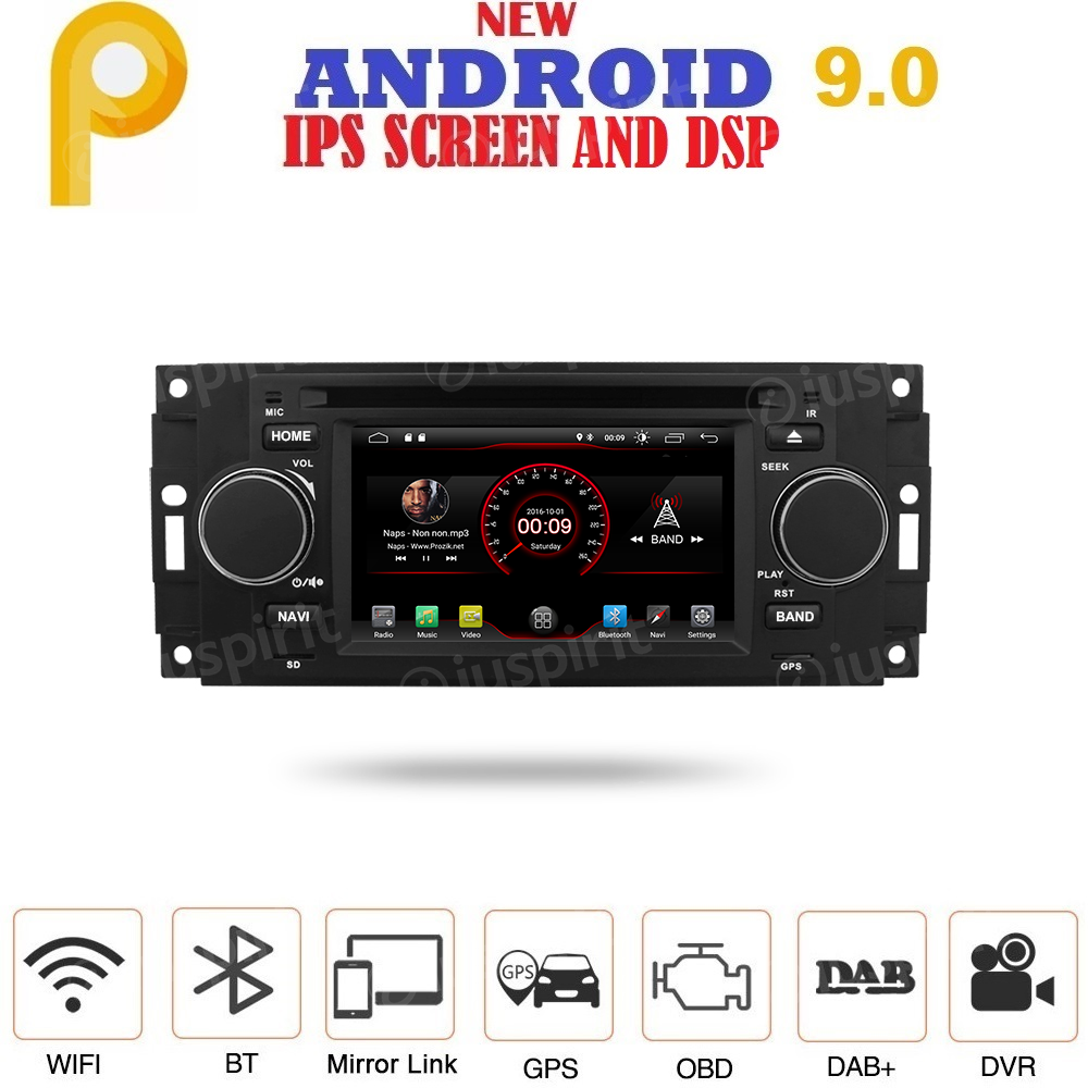 ANDROID 9.0 autoradio navigatore per Jeep Compass/Commander/Grand Cherokee/Wrangler Chrysler 300 Chrysler 300 C Chrysler Pacifica Dodge Ram Dodge GPS DVD USB SD WI-FI Bluetooth Mirrorlink