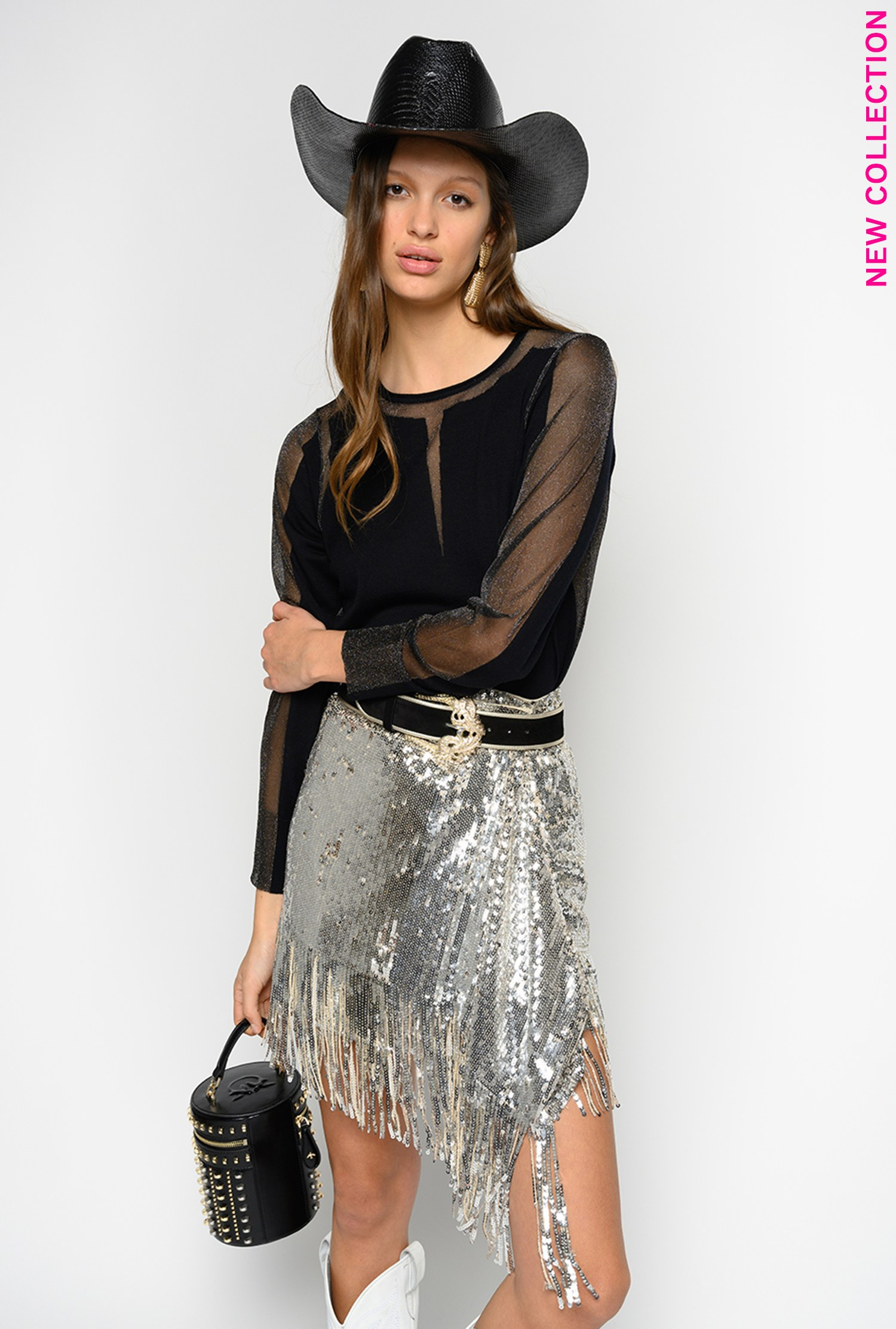 SHOPPING ON LINE PINKO MINIGONNA IN FULL PAILLETTES CON FRANGE RATATOUILLE NEW COLLECTION WOMEN'S SPRING SUMMER 2020
