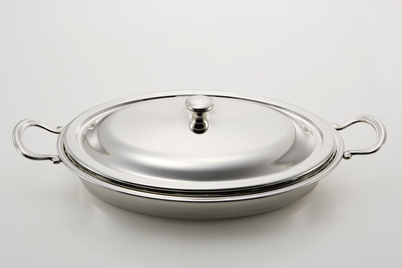 Legumiera ovale con pyrex stile Inglese argentato argento cm.40x30x14,5h