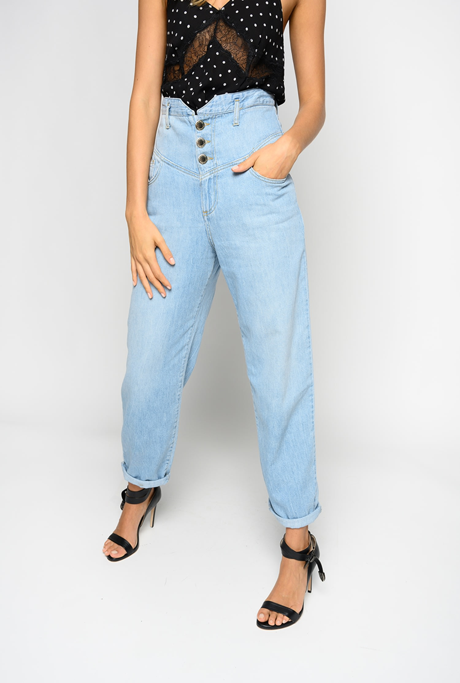 SHOPPING ON LINE PINKO JEANS CON VITA ALTA A BUSTIER CAROL 5 NEW COLLECTION WOMEN'S SPRING SUMMER 2020
