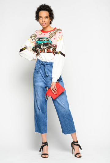 SHOPPING ON LINE PINKO FELPA CROPPED STAMPA RODEO SENAPE NEW COLLECTION WOMEN'S SPRING SUMMER 2020