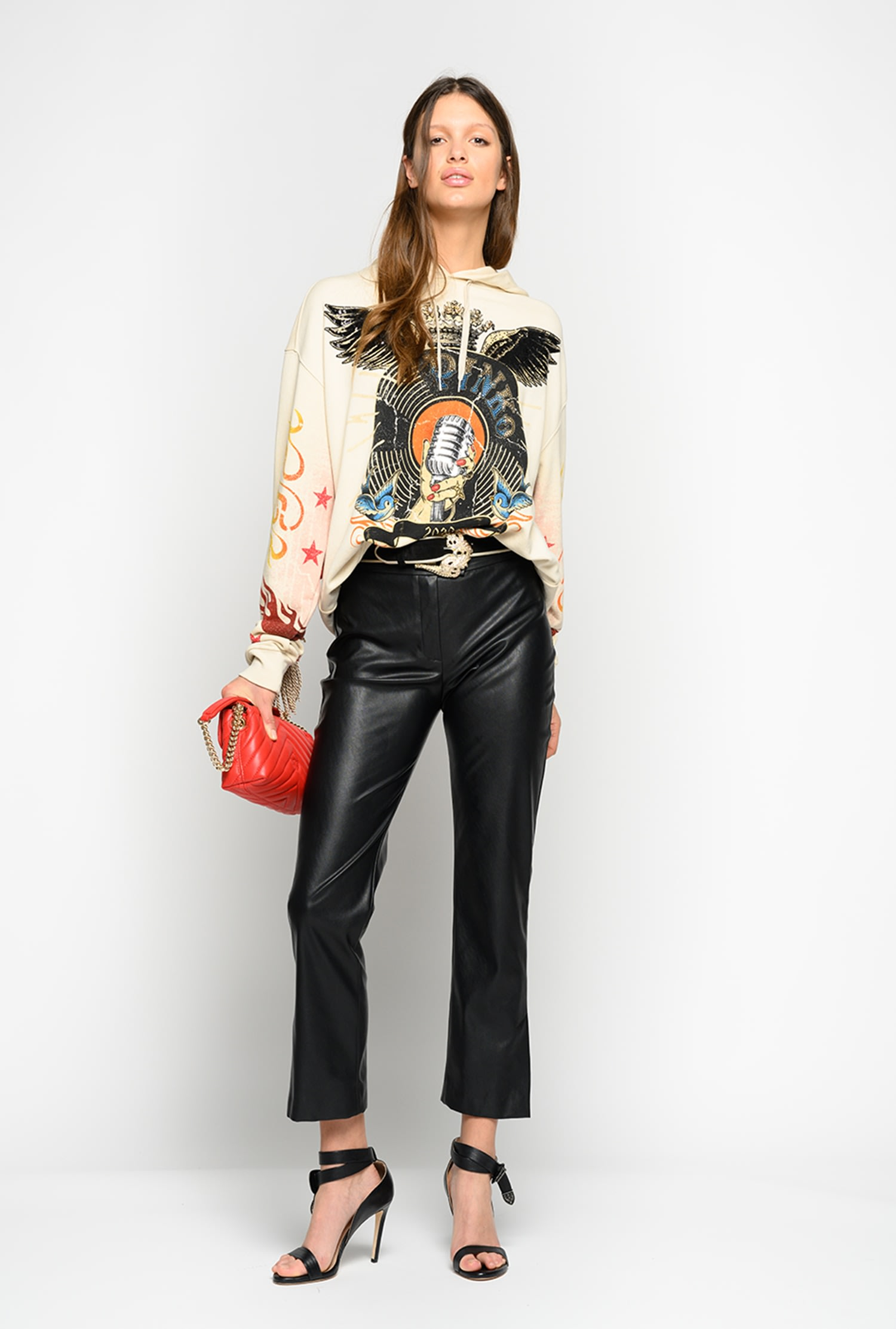 SHOPPING ON LINE PINKO FELPA OVERSIZE CON FRANGE TABASCO NEW COLLECTION WOMEN'S SPRING SUMMER 2020