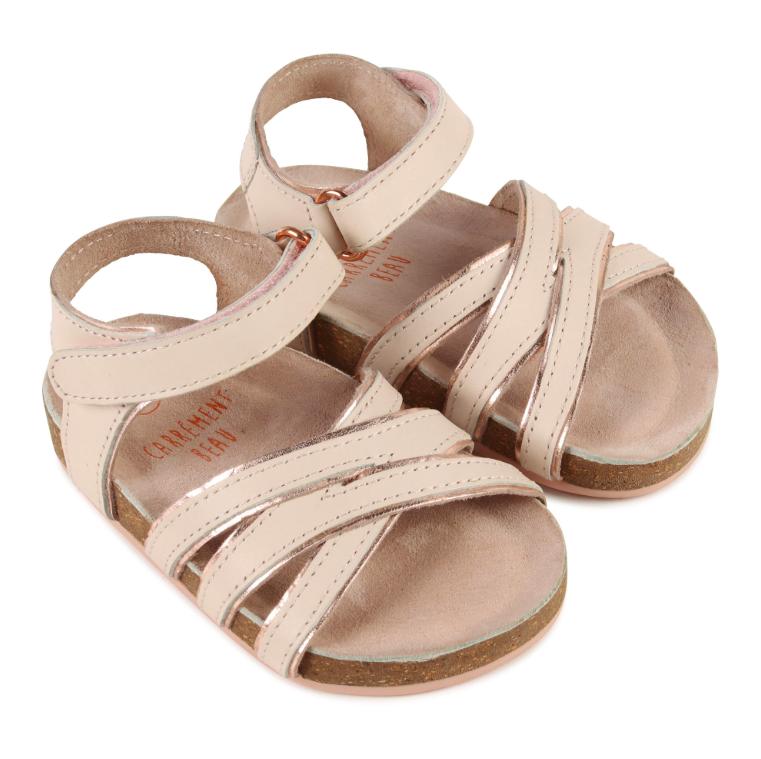 Sandali in pelle rosa pallido e oro rosa Carrément Beau
