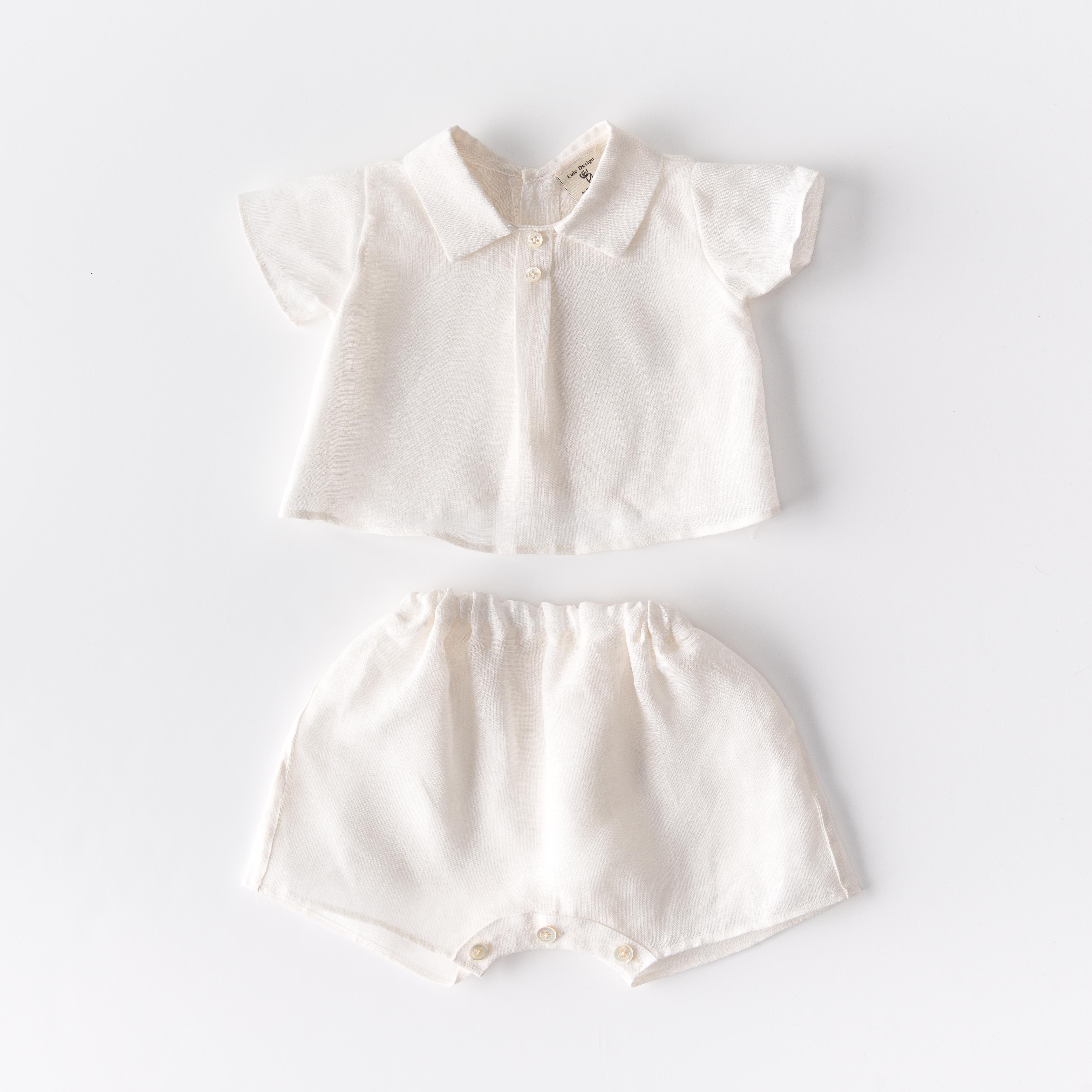 Completo Camicino e pantaloncino neonato in lino biologico con bottoni in madreperla