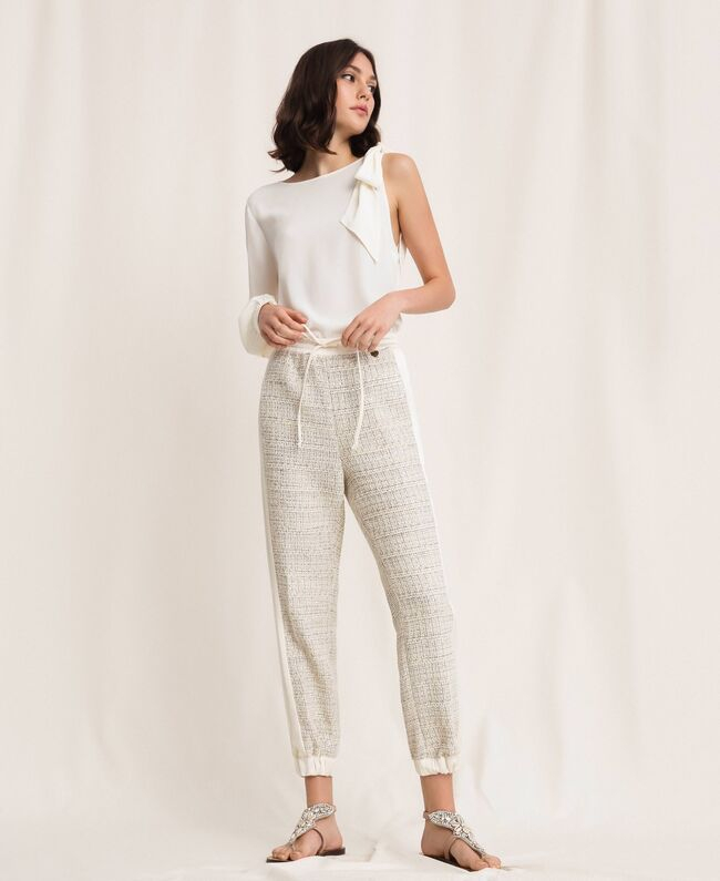 SHOPPING ON LINE TWINSET MILANO PANTALONI JOGGING IN TESSUTO BOUCLE CON LUREX NEW COLLECTION  WOMEN'S SPRING SUMMER 2020