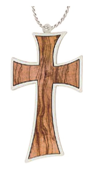 Croce comunione inserto ulivo cm. 9