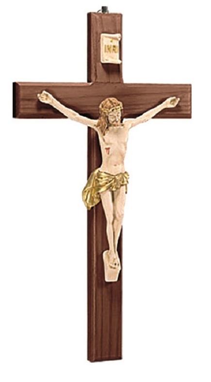 Croce in legno scuro corpo in resina cm. 40
