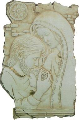 Quadretto Sacra Famiglia in resina cm. 8,5x13