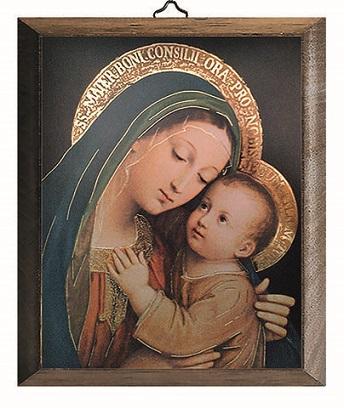 Tavola Madonna con Bambino in legno massello cm. 12,5x17,5