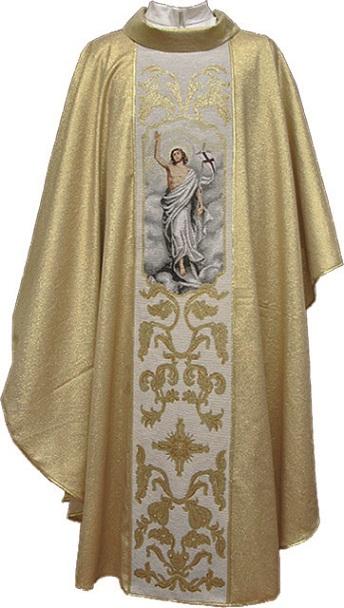 Casula in poliestere con fascia in gobelin ricamo Gesù Risorto