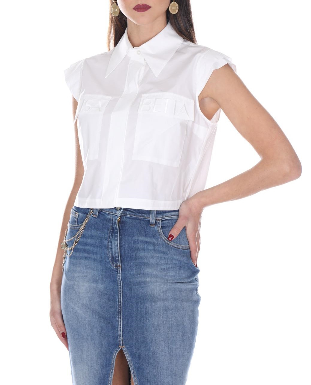 Camicia in Cotone Elisabetta Franchi CA24701E2 100BIANCO  -19