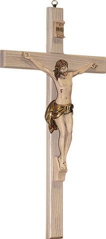 Croce in legno chiaro corpo in resina cm. 30
