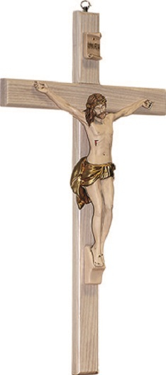 Croce in legno chiaro corpo in resina cm. 40