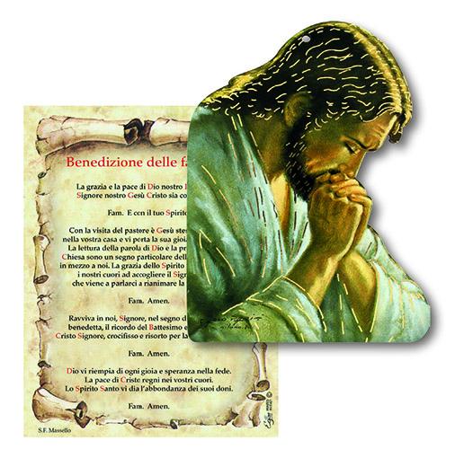Tavoletta Gesù in preghiera con benedizione Famiglia