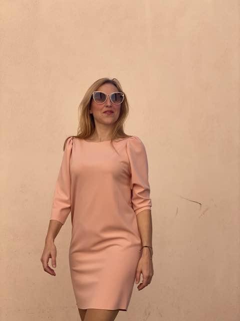 Abito Vicolo manica a sbuffo Rosa Cipria Taglia L