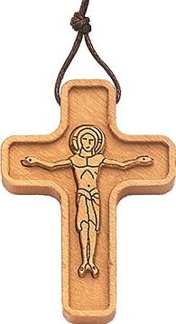 Croce in ulivo con corpo in rilievo cm. 4 con cordoncino