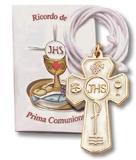 Croce in metallo Prima Comunione con cordoncino