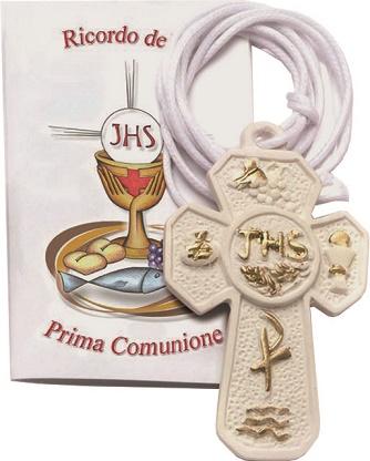 Croce in resina Prima Comunione con cordoncino