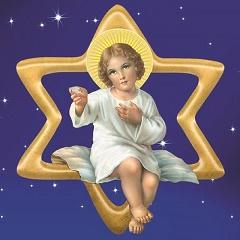 Piastrellina magnete stella Stella/Gesù Bambino