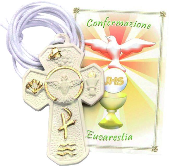 Croce resina Confermazione/Eucarestia con cordoncino
