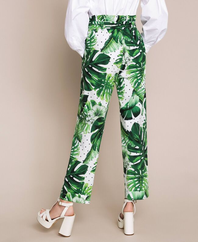 SHOPPING ON LINE TWINSET MILANO PANTALONI A VITA ALTA IN POPELINE STAMPATO NEW COLLECTION  WOMEN'S SPRING SUMMER 2020