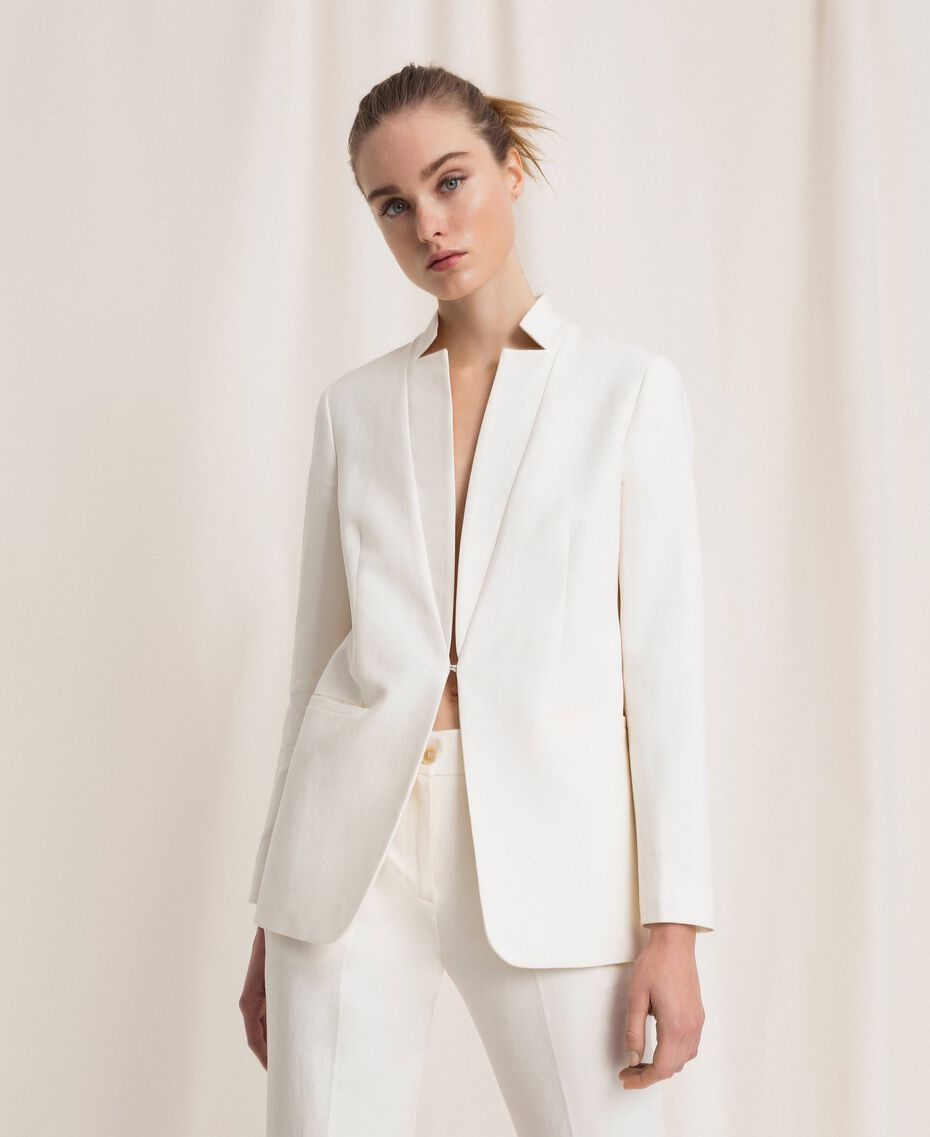 SHOPPING ON LINE TWINSET MILANO GIACCA BLAZER COLORI NEVE E BLU NOTTE IN MISTO LINO NEW COLLECTION  WOMEN'S SPRING SUMMER 2020