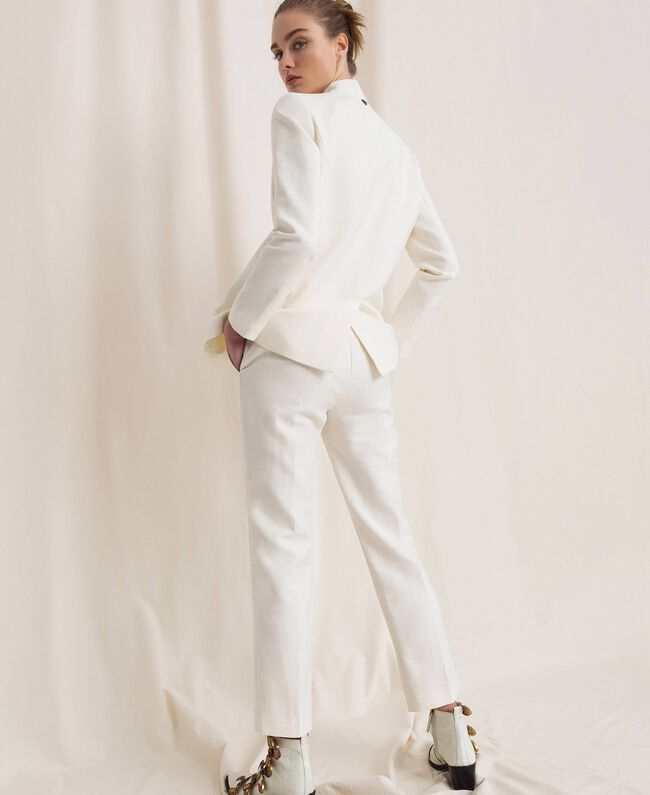SHOPPING ON LINE TWINSET MILANO PANTALONI COLORI NEVE -BLU NOTTE-NERO -IN MISTO LINO NEW COLLECTION  WOMEN'S SPRING SUMMER 2020