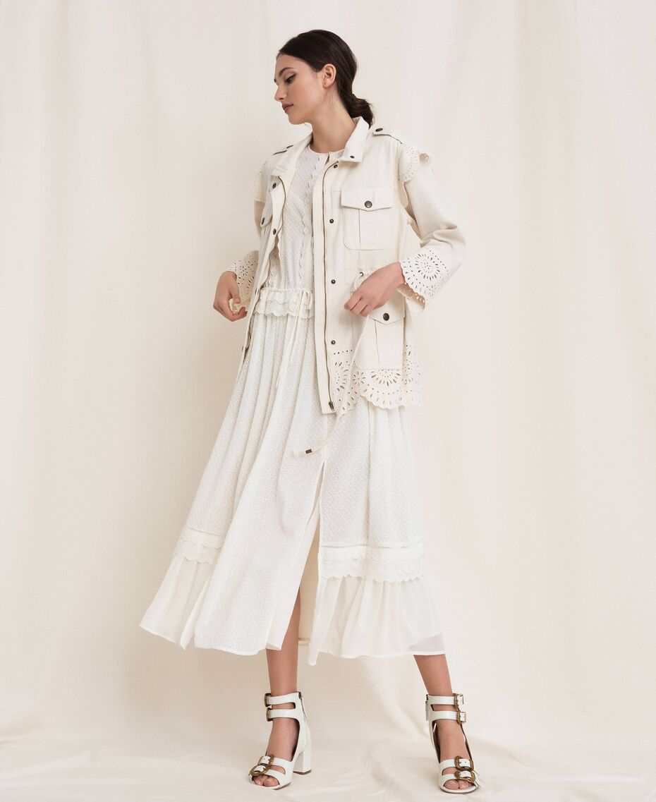 SHOPPING ON LINE TWINSET MILANO GIACCA IN CANVAS DI COTONE CON RICAMO SAN GALLO NEW COLLECTION  WOMEN'S SPRING SUMMER 2020