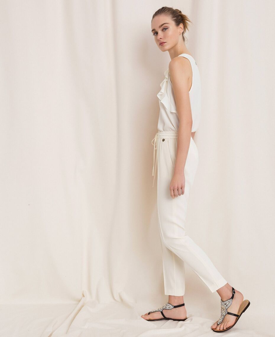 SHOPPING ON LINE TWINSET MILANO PANTALONI COLORE: AVORIO E NERO IN CADY ENVERS SATIN  NEW COLLECTION  WOMEN'S SPRING SUMMER 2020