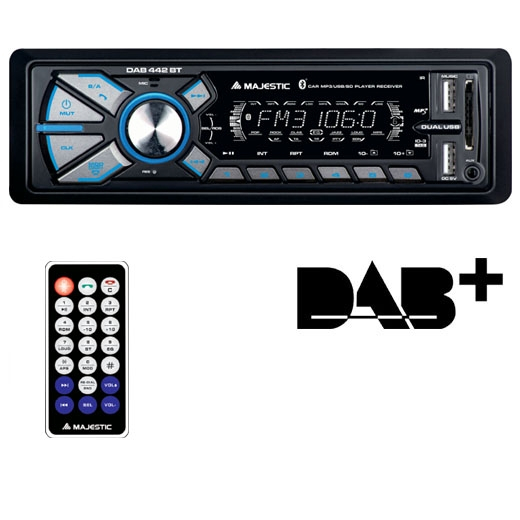 New Majestic DAB-442 BT Ricevitore multimediale per auto Nero 180 W Bluetooth