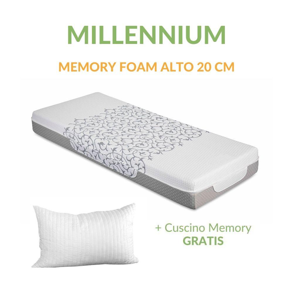 Materasso Memory Foam Ortopedico Massaggiante alto 20 cm con Cuscini Memory GRATIS, Rivestimento Sfoderabile Lavabile Tessuto Antiacaro e Anallergico | MILLENNIUM