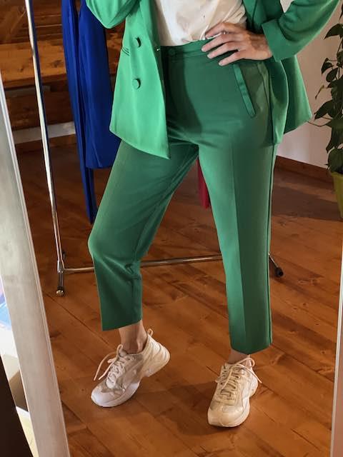 Pantaloni Vicolo profili in raso Verde